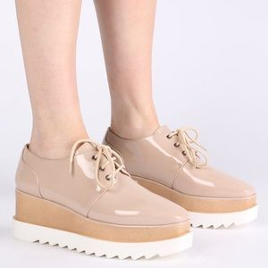 Public Desire Nude Patent Chunky Cleated Flatform